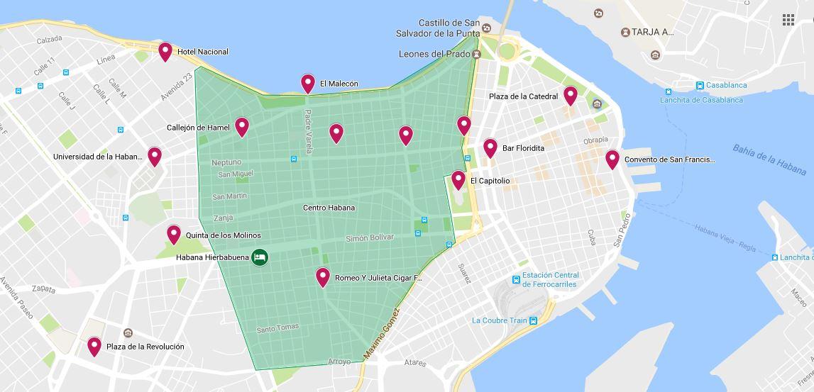 mapa Hostal en Centro Habana