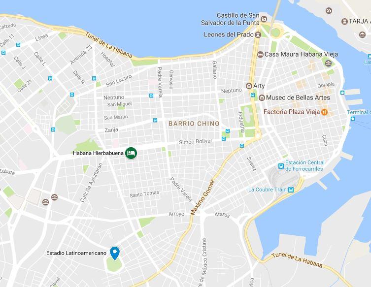 mapa donde alojarse en la habana