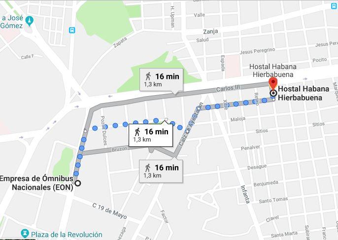 distancia a autobuses víAzul desde La Habana